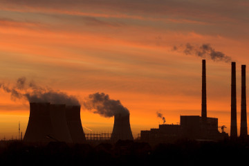 File picture of gas fired power station at sunset in Minsk