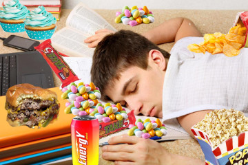 asleep with snacks