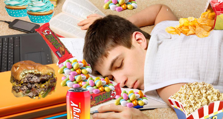 asleep with snacks